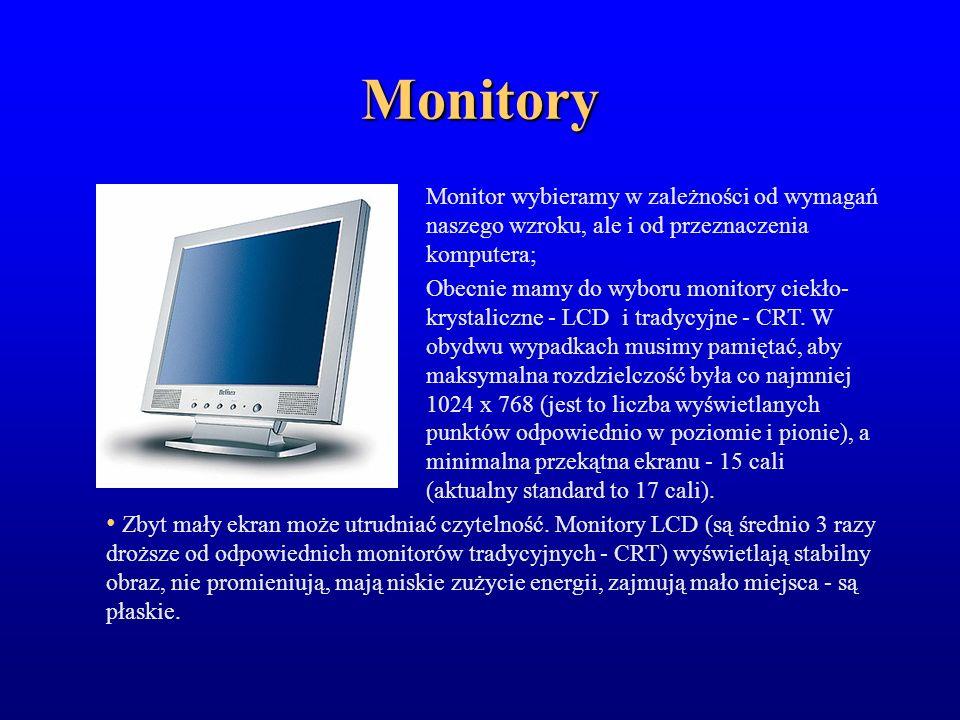 Monitory Monitor wybieramy w zależności od wymagań naszego wzroku, ale i od przeznaczenia komputera;