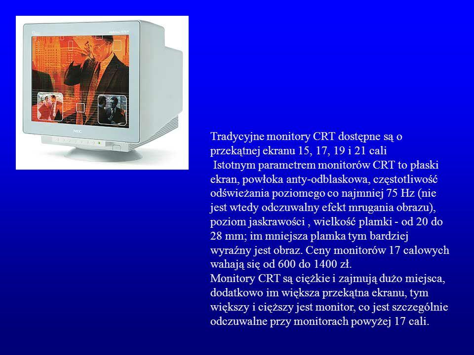 Tradycyjne monitory CRT dostępne są o przekątnej ekranu 15, 17, 19 i 21 cali