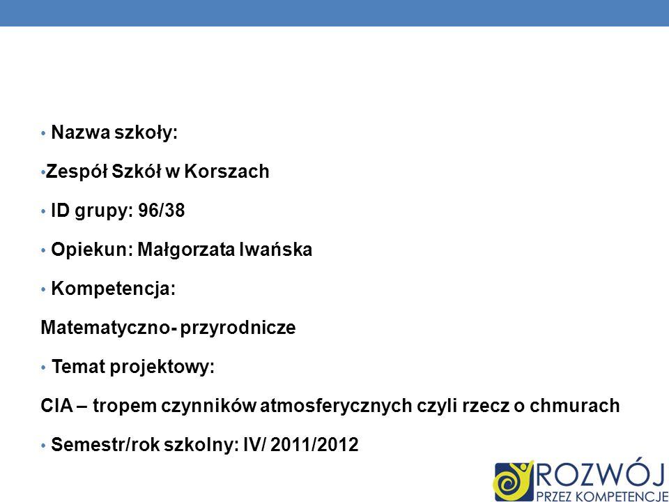 Nazwa szkoły: Zespół Szkół w Korszach. ID grupy: 96/38. Opiekun: Małgorzata Iwańska. Kompetencja: