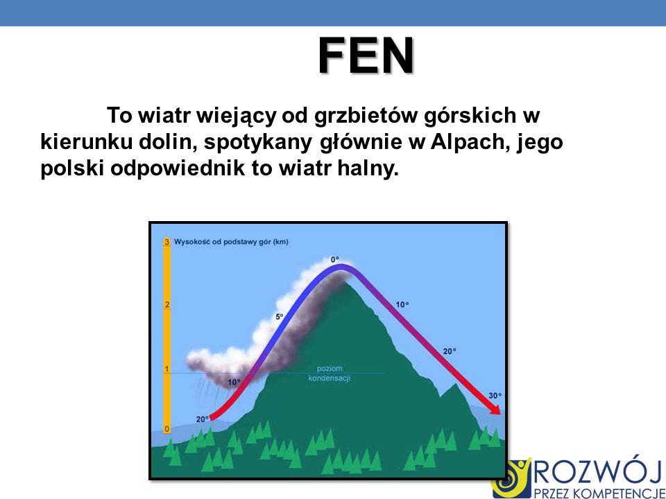 FEN To wiatr wiejący od grzbietów górskich w kierunku dolin, spotykany głównie w Alpach, jego polski odpowiednik to wiatr halny.