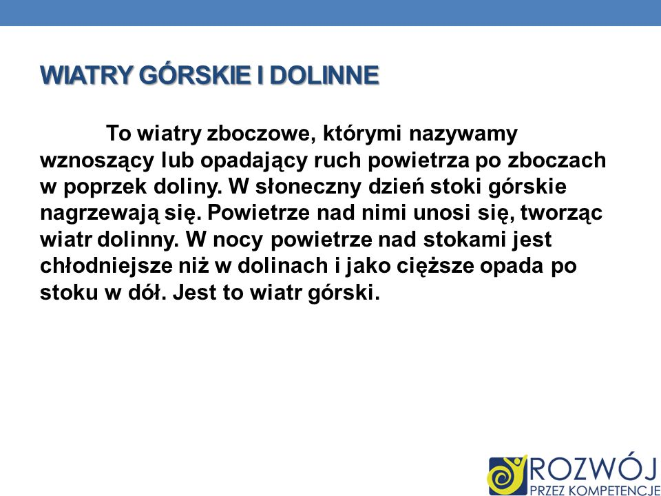 WIATRY GÓRSKIE I DOLINNE