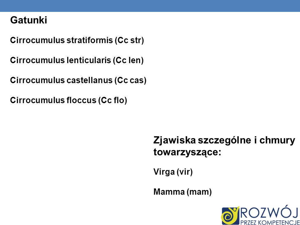 Gatunki Cirrocumulus stratiformis (Cc str) Cirrocumulus lenticularis (Cc len) Cirrocumulus castellanus (Cc cas) Cirrocumulus floccus (Cc flo) Zjawiska szczególne i chmury towarzyszące: Virga (vir) Mamma (mam)