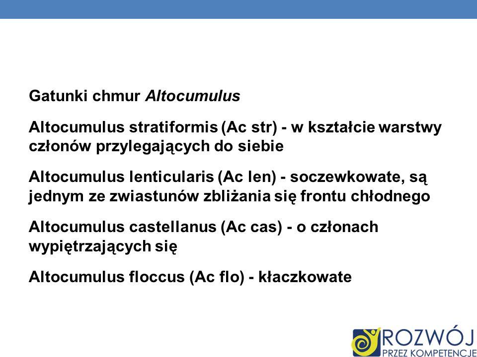Gatunki chmur Altocumulus Altocumulus stratiformis (Ac str) - w kształcie warstwy członów przylegających do siebie Altocumulus lenticularis (Ac len) - soczewkowate, są jednym ze zwiastunów zbliżania się frontu chłodnego Altocumulus castellanus (Ac cas) - o członach wypiętrzających się Altocumulus floccus (Ac flo) - kłaczkowate