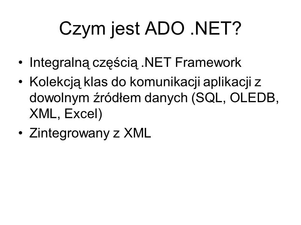 Czym jest ADO .NET Integralną częścią .NET Framework