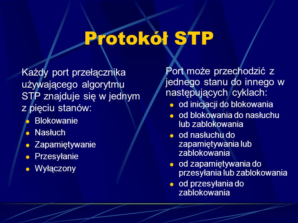 Protokół STPKażdy port przełącznika używającego algorytmu STP znajduje się w jednym z pięciu stanów: