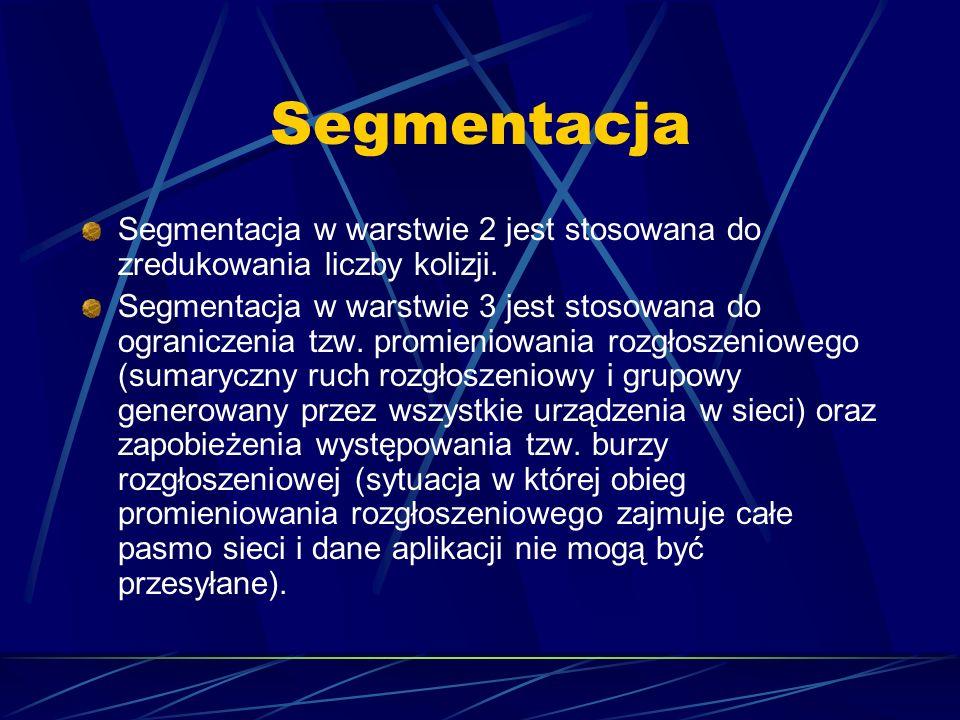 Segmentacja Segmentacja w warstwie 2 jest stosowana do zredukowania liczby kolizji.