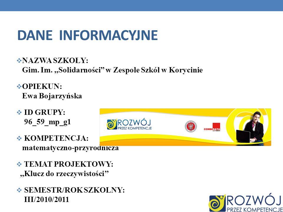 Dane INFORMACYJNE NAZWA SZKOŁY: Gim. Im. ,,Solidarności w Zespole Szkół w Korycinie. OPIEKUN: Ewa Bojarzyńska.
