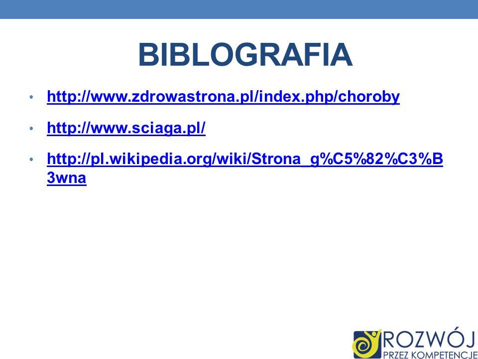 Biblografia http://www.zdrowastrona.pl/index.php/choroby