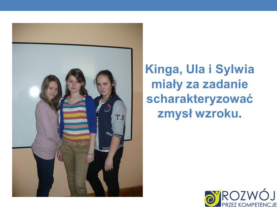 Kinga, Ula i Sylwia miały za zadanie scharakteryzować zmysł wzroku.