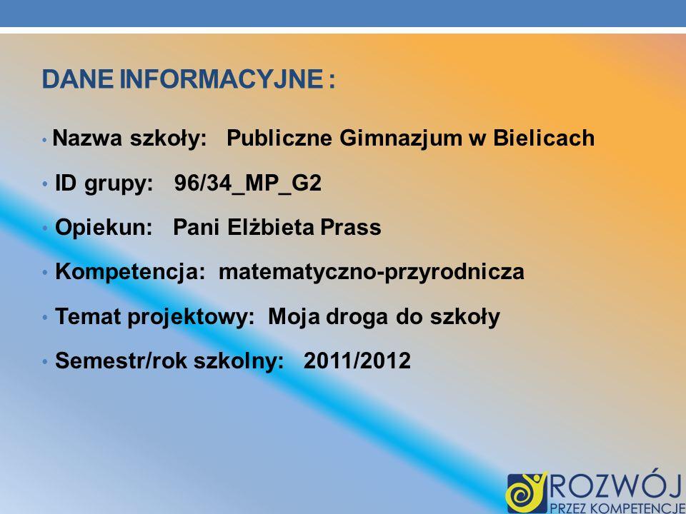 Dane INFORMACYJNE : ID grupy: 96/34_MP_G2 Opiekun: Pani Elżbieta Prass