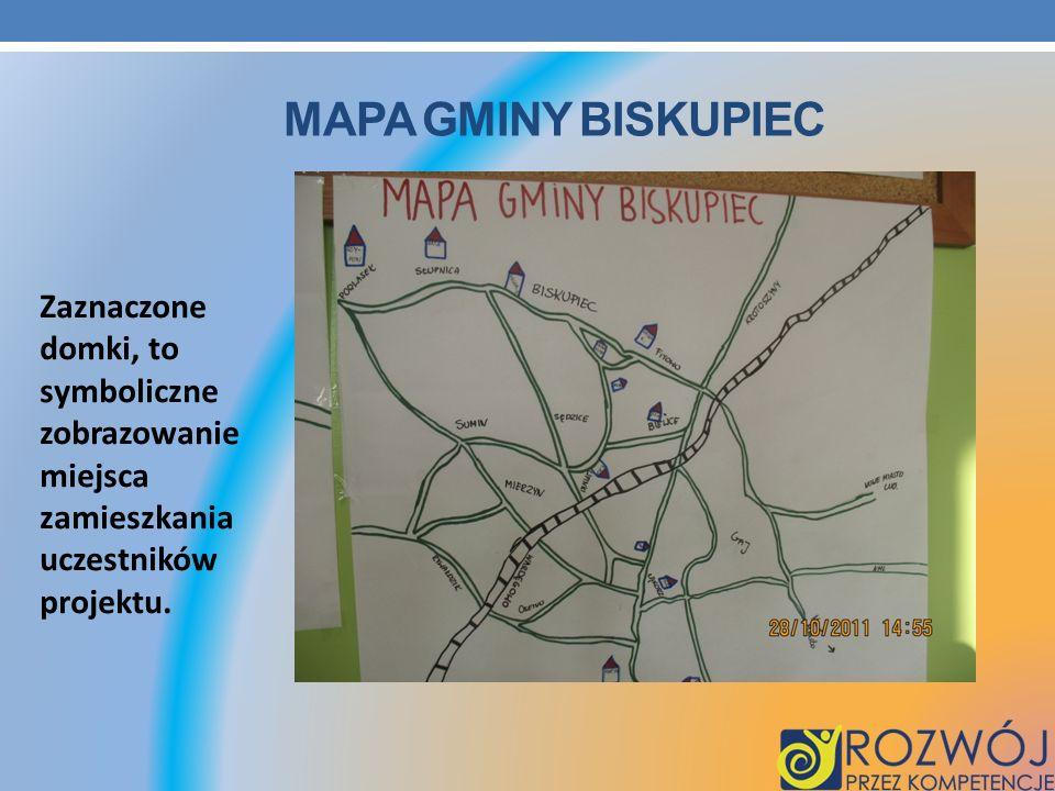 Mapa gminy Biskupiec Zaznaczone domki, to symboliczne zobrazowanie miejsca zamieszkania.