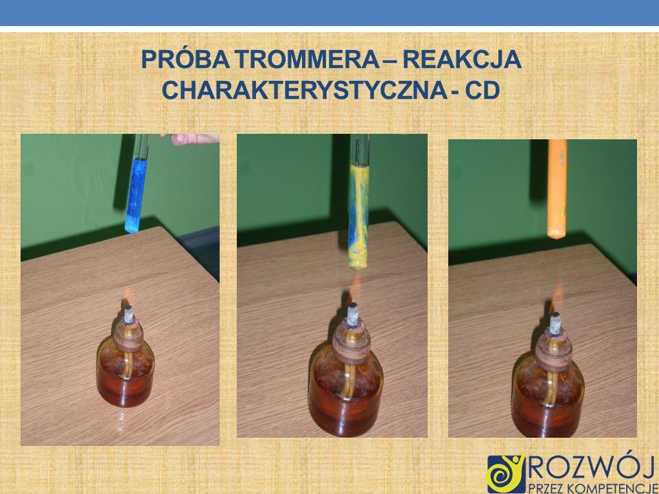 Próba Trommera – reakcja charakterystyczna - cd