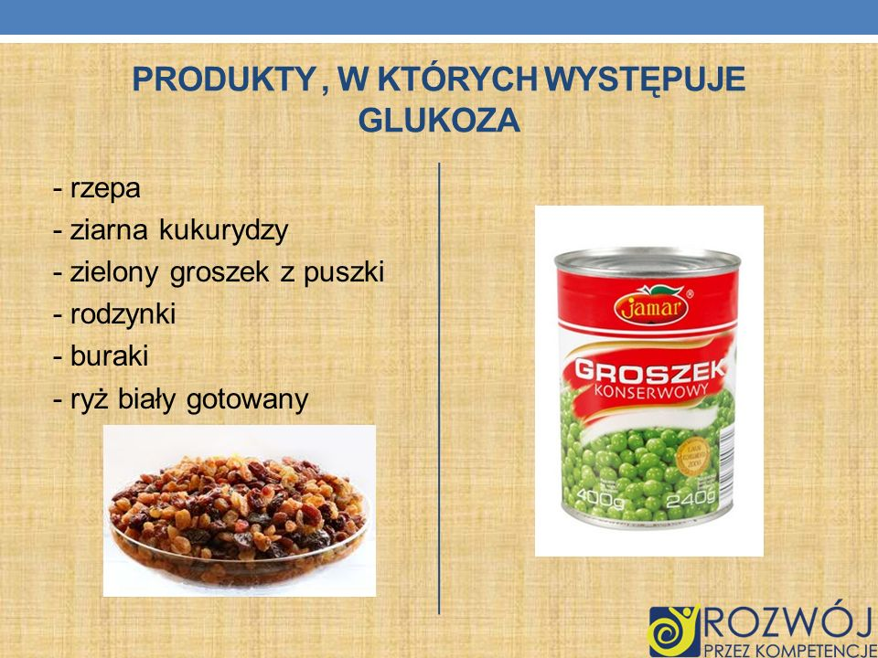 Produkty , w których występuje glukoza