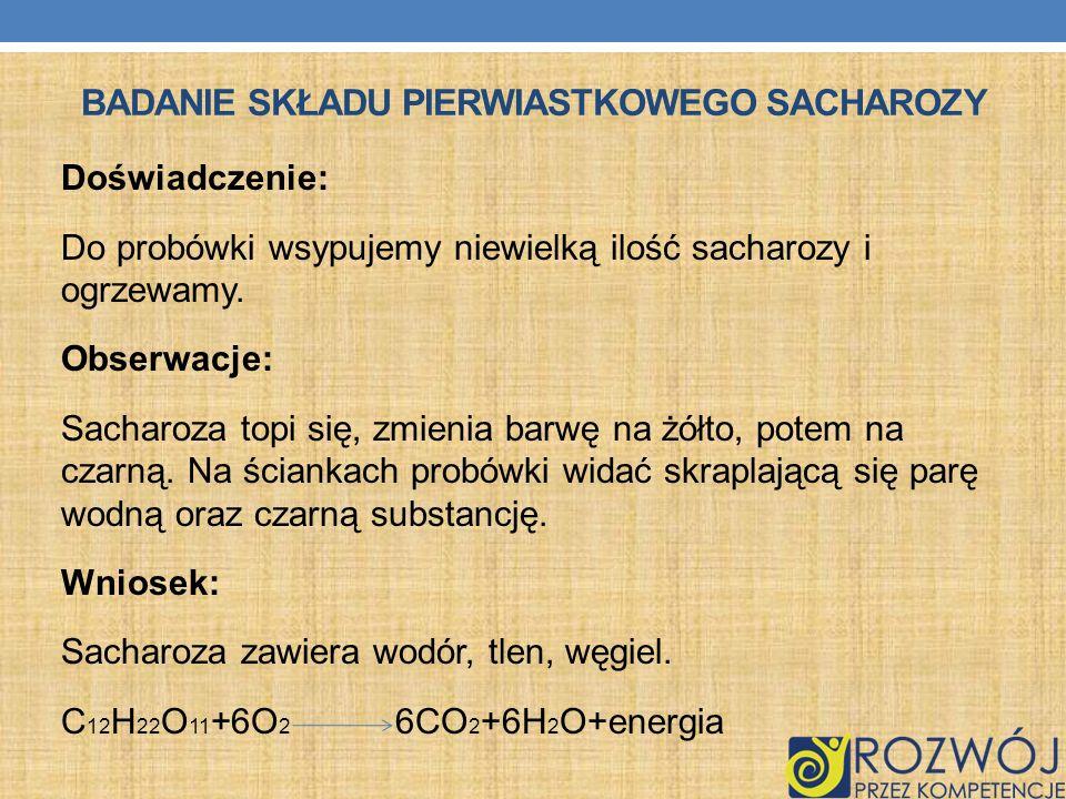 Badanie składu pierwiastkowego sacharozy
