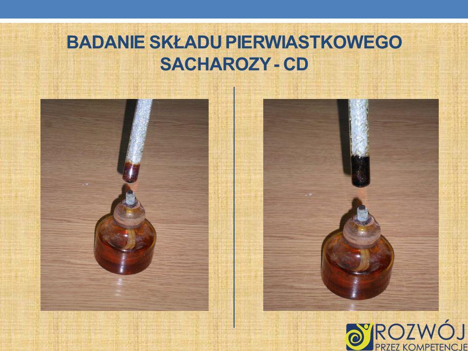 Badanie składu pierwiastkowego sacharozy - cd