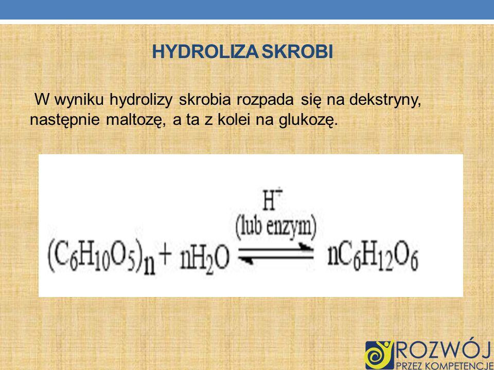 Hydroliza skrobiW wyniku hydrolizy skrobia rozpada się na dekstryny, następnie maltozę, a ta z kolei na glukozę.