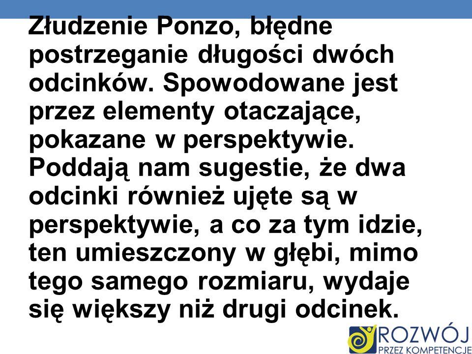 Złudzenie Ponzo, błędne postrzeganie długości dwóch odcinków