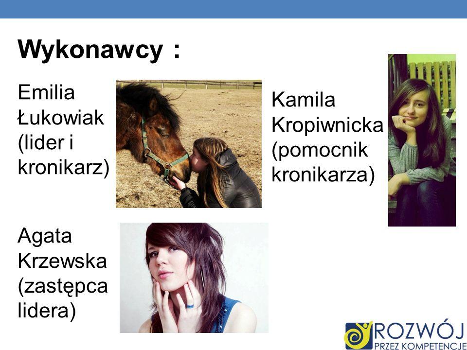 Wykonawcy : Kamila Kropiwnicka (pomocnik kronikarza)