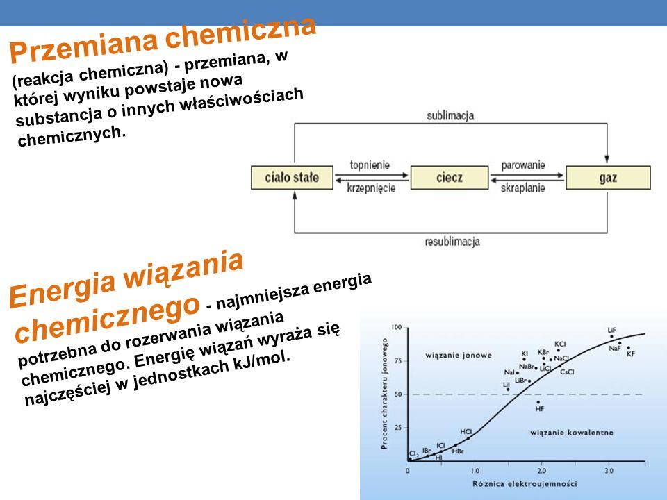 Przemiana chemiczna (reakcja chemiczna) - przemiana, w której wyniku powstaje nowa substancja o innych właściwościach chemicznych.