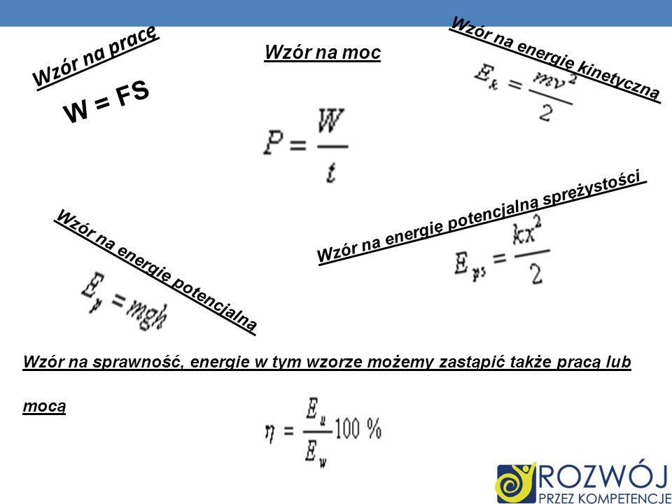 W = FS Wzór na pracę Wzór na moc Wzór na energię kinetyczną