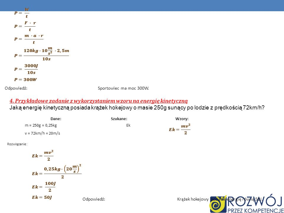 4. Przykładowe zadanie z wykorzystaniem wzoru na energię kinetyczną
