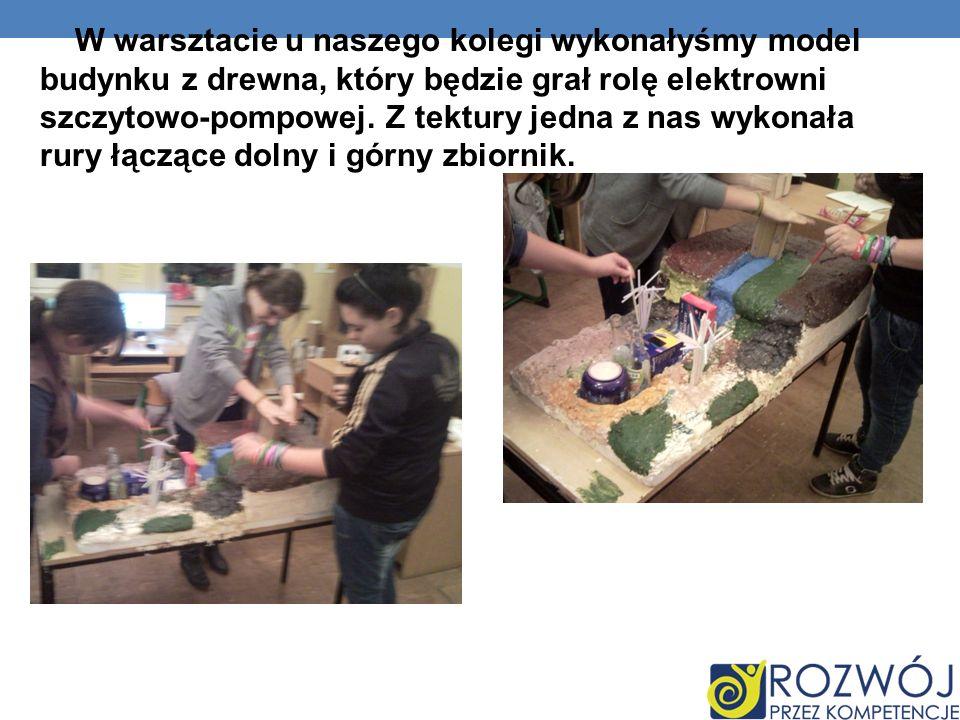 W warsztacie u naszego kolegi wykonałyśmy model budynku z drewna, który będzie grał rolę elektrowni szczytowo-pompowej.