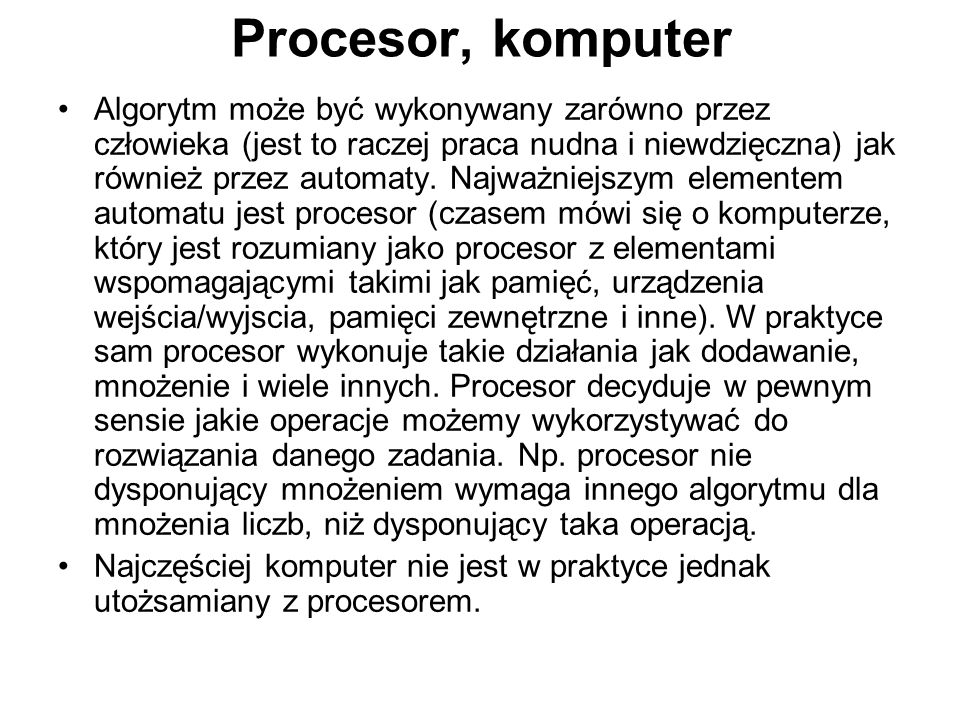 Procesor, komputer