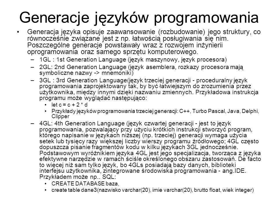 Generacje języków programowania