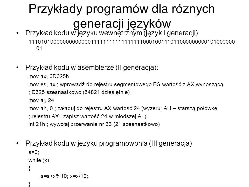 Przykłady programów dla róznych generacji języków