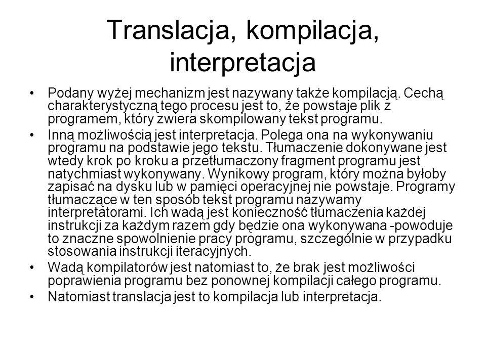 Translacja, kompilacja, interpretacja