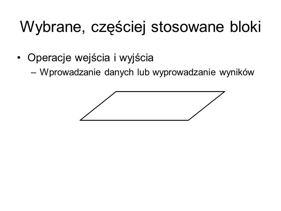 Wybrane, częściej stosowane bloki