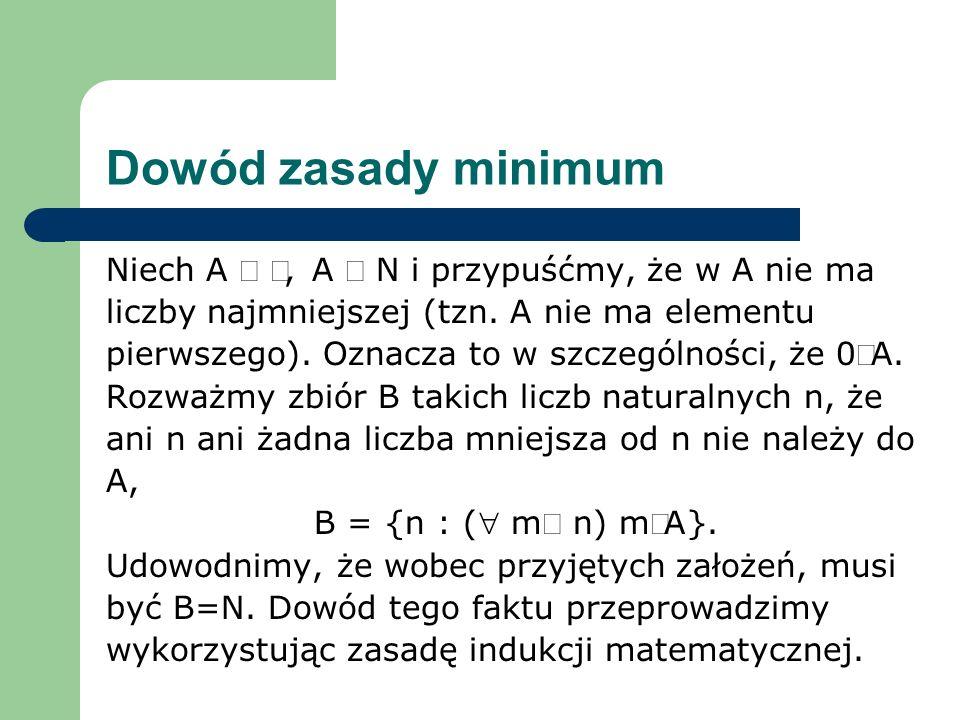 Dowód zasady minimum Niech A ¹ Æ, A Í N i przypuśćmy, że w A nie ma