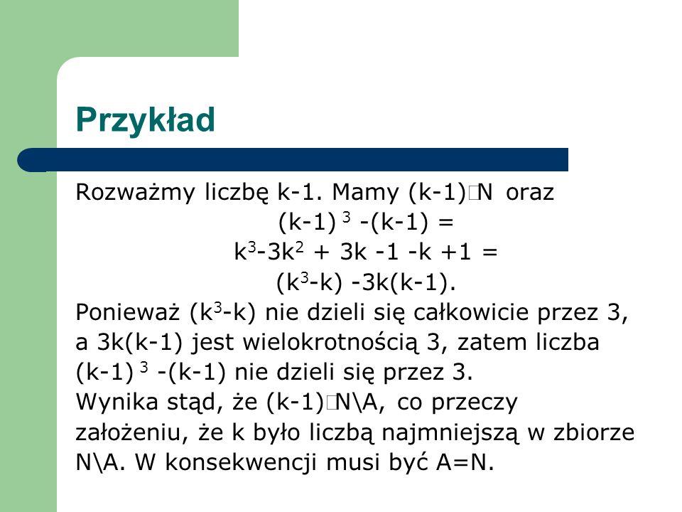 Przykład Rozważmy liczbę k-1. Mamy (k-1)ÎN oraz (k-1) 3 -(k-1) =