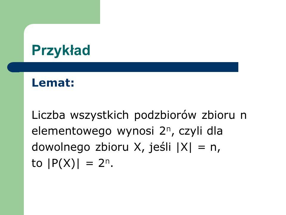 Przykład Lemat: Liczba wszystkich podzbiorów zbioru n