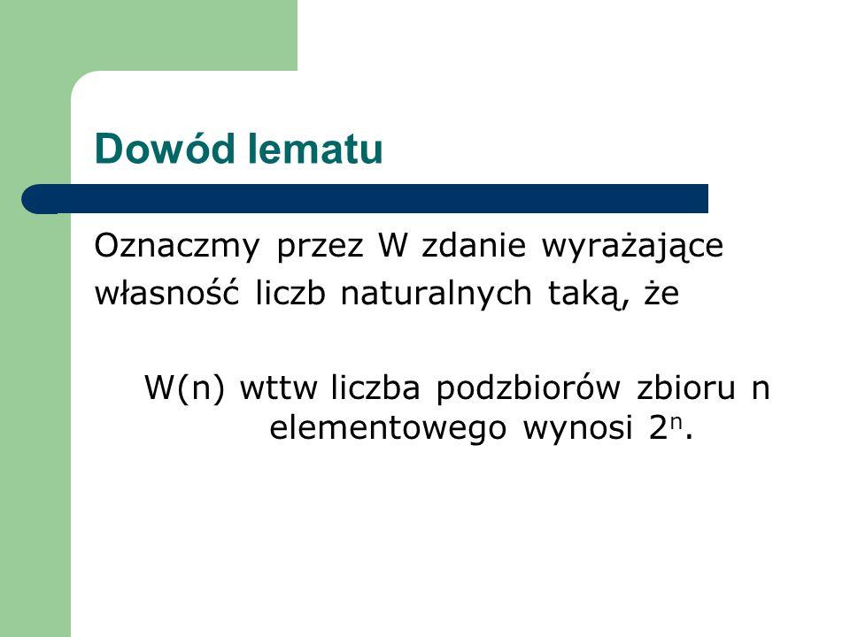 W(n) wttw liczba podzbiorów zbioru n elementowego wynosi 2n.