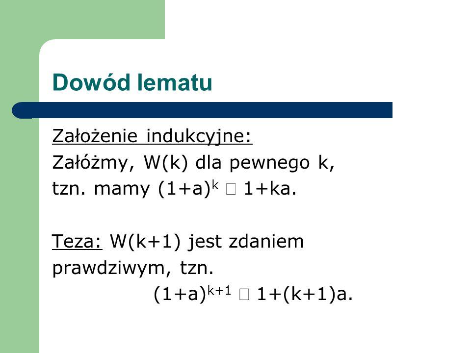 Dowód lematu Założenie indukcyjne: Załóżmy, W(k) dla pewnego k,