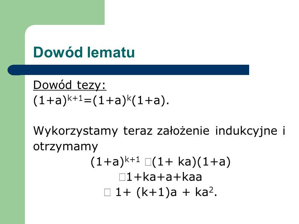 Dowód lematu Dowód tezy: (1+a)k+1=(1+a)k(1+a).