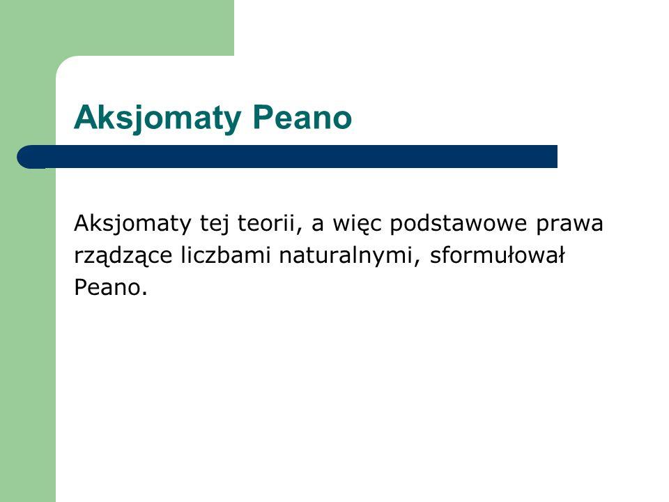 Aksjomaty Peano Aksjomaty tej teorii, a więc podstawowe prawa