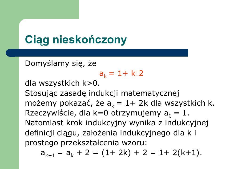 Ciąg nieskończony Domyślamy się, że ak = 1+ k×2 dla wszystkich k>0.