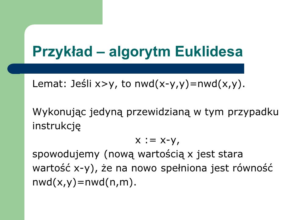 Przykład – algorytm Euklidesa