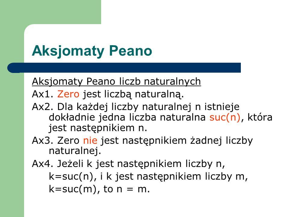 Aksjomaty Peano Aksjomaty Peano liczb naturalnych