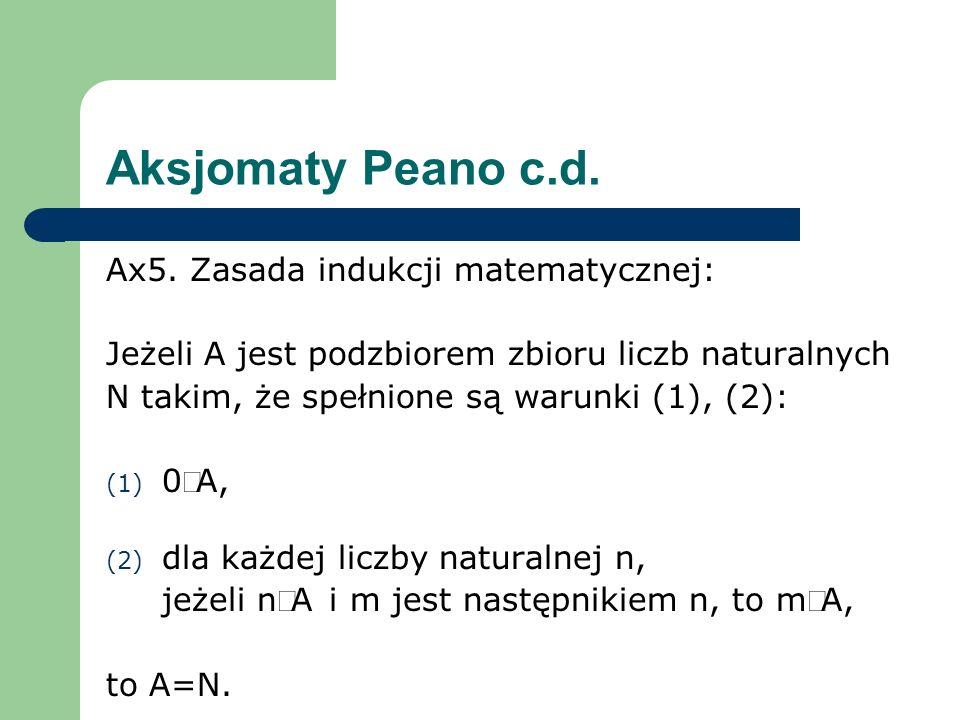 Aksjomaty Peano c.d. Ax5. Zasada indukcji matematycznej: