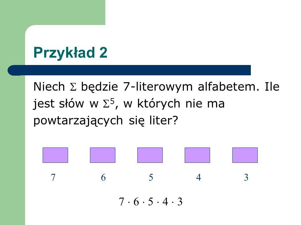 Przykład 2 Niech  będzie 7-literowym alfabetem. Ile
