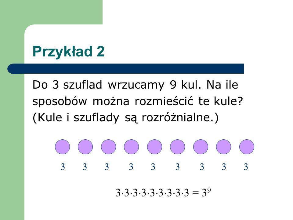 Przykład 2 Do 3 szuflad wrzucamy 9 kul. Na ile