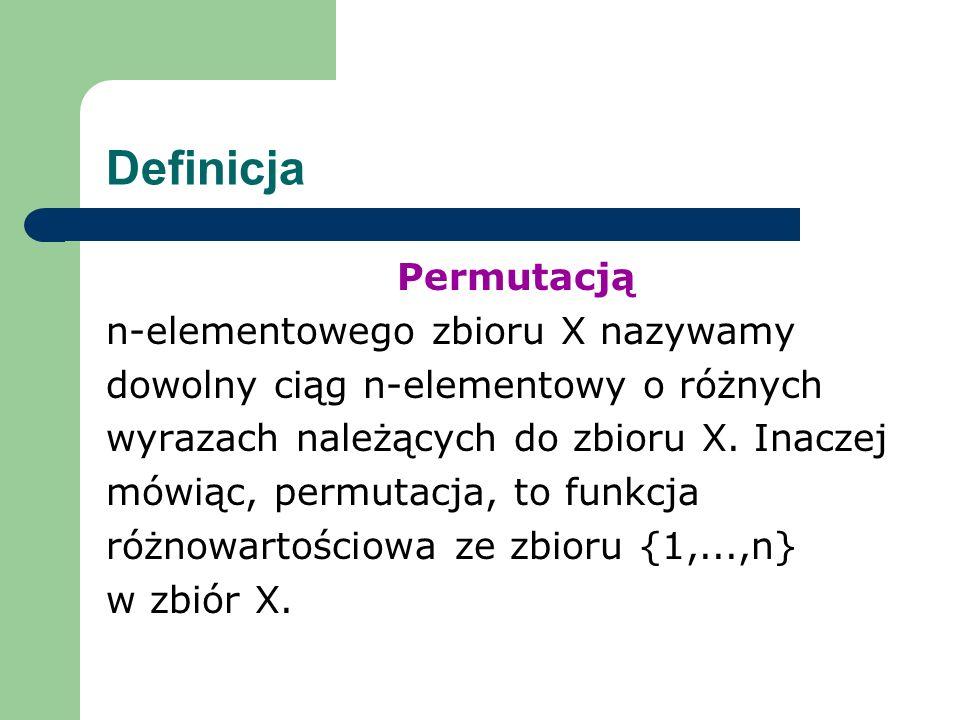 Definicja Permutacją n-elementowego zbioru X nazywamy