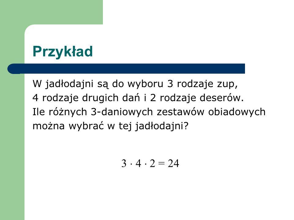 Przykład 3  4  2 = 24 W jadłodajni są do wyboru 3 rodzaje zup,
