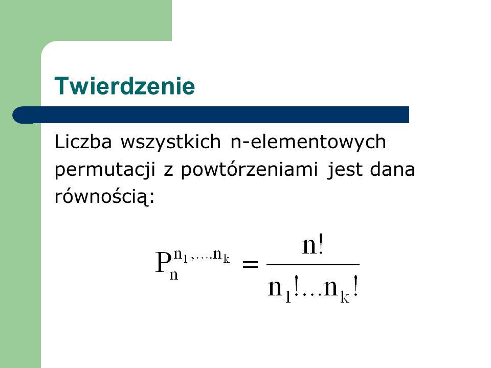 Twierdzenie Liczba wszystkich n-elementowych