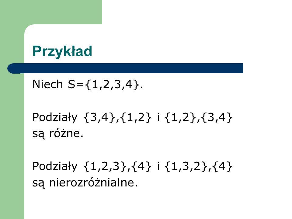 Przykład Niech S={1,2,3,4}. Podziały {3,4},{1,2} i {1,2},{3,4}