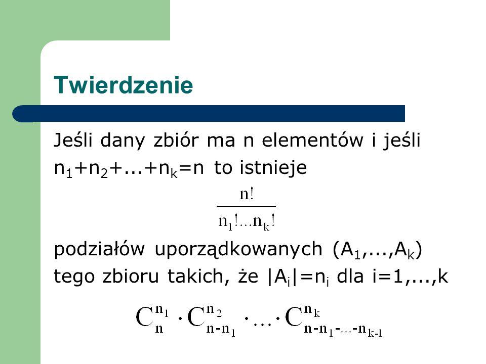 Twierdzenie Jeśli dany zbiór ma n elementów i jeśli
