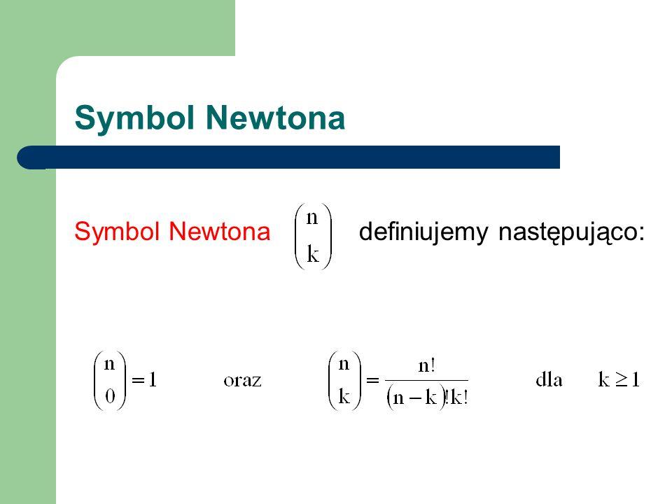 Symbol Newtona Symbol Newtona definiujemy następująco: